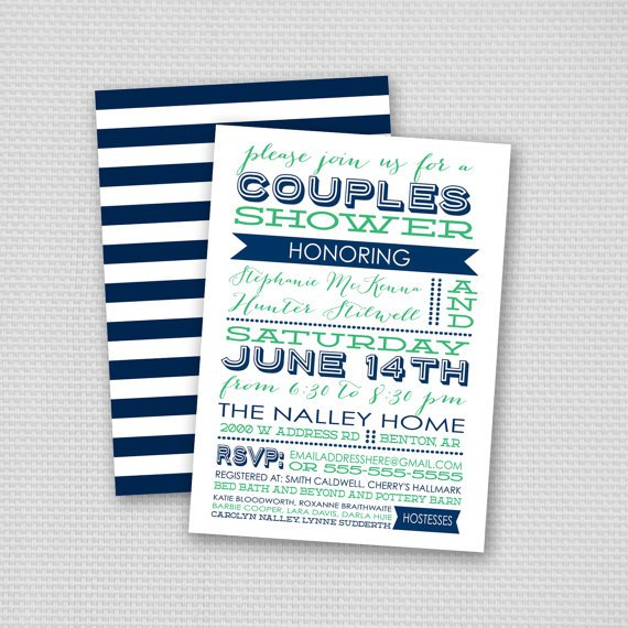 Couples Wedding Shower Invitations Etsy
