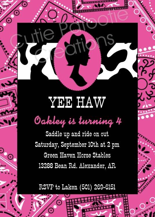 Cow Print Birthday Invitations Girly