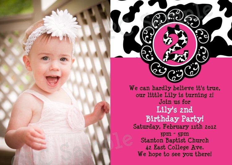 Cow Print Birthday Party Invitations