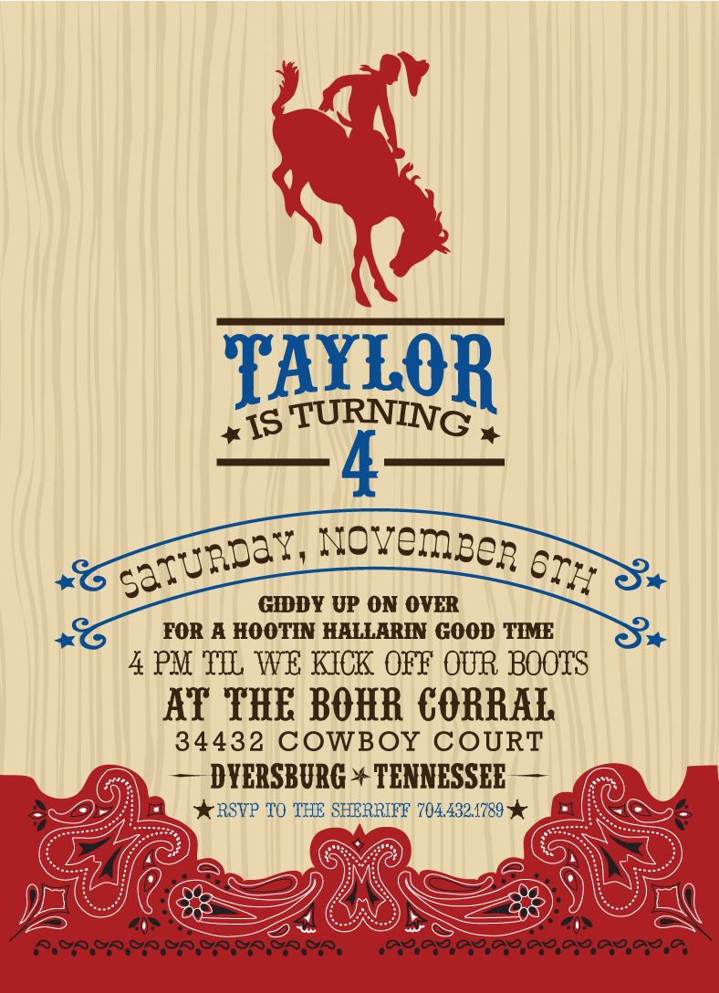 Cowboy Invitation Templates