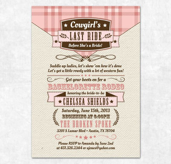 Cowgirl Bachelorette Party Invitation Wording