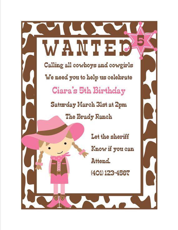 Cowgirl Birthday Invitation Ideas