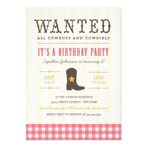 Cowgirl Birthday Party Invitation Templates
