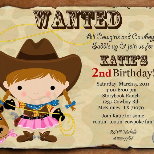 Cowgirl Birthday Personalized Invitations