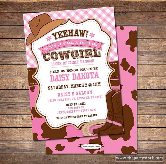 Cowgirl Party Invitation Templates