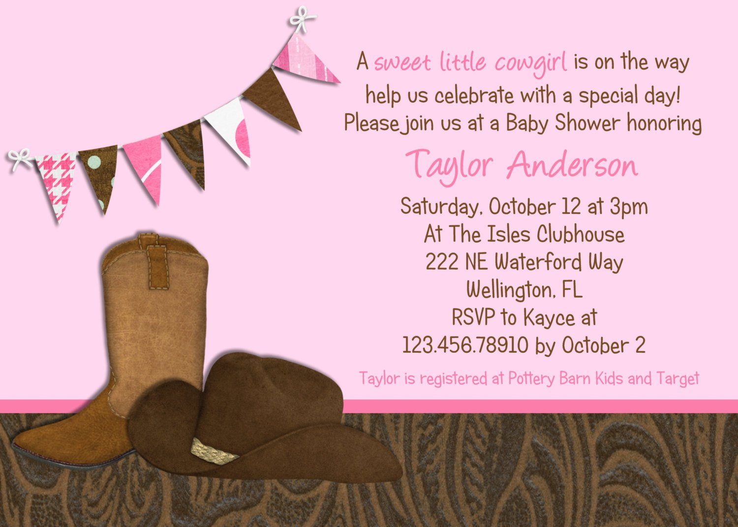 Cowgirl Party Invitations Templates