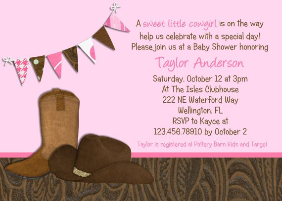 Cowgirl Themed Bridal Shower Invitations