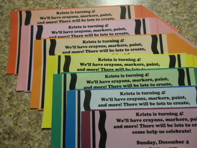 Crayola Themed Birthday Party Invitations