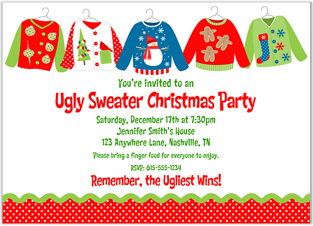 Crazy Christmas Sweater Party Invitations
