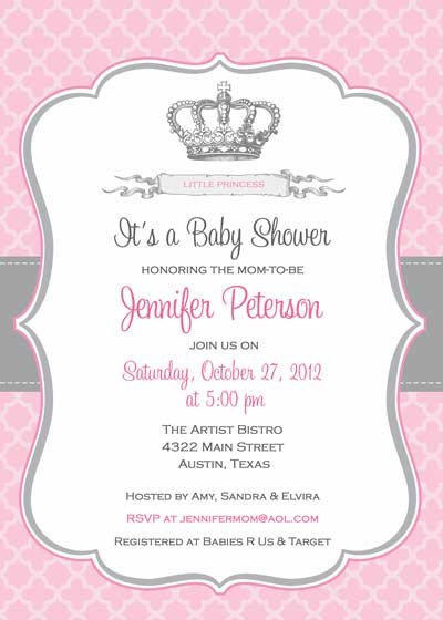 Crown Invitations Baby Shower