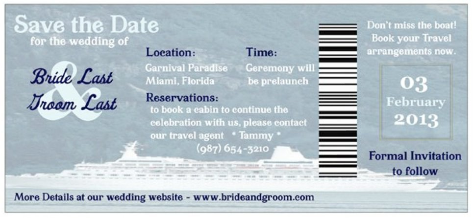 Cruise Wedding Invitation Wording Examples