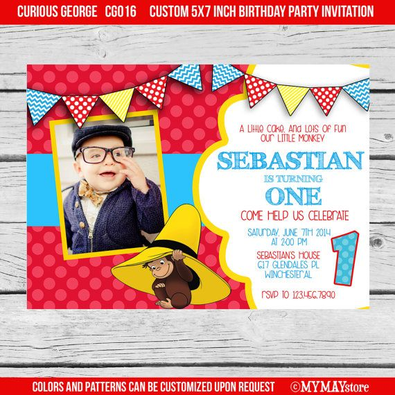 curious george 1st birthday invitations