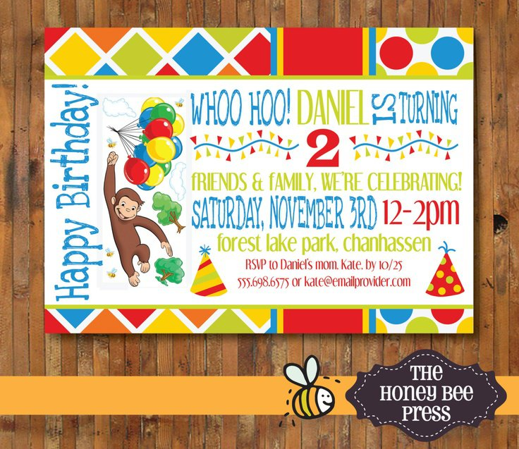 Curious George First Birthday Invitations
