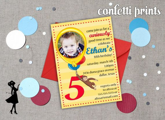 Curious George Party Invitation