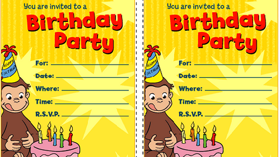Curious George Printable Party Invitations
