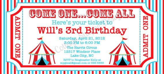 Custom Circus Birthday Invitations