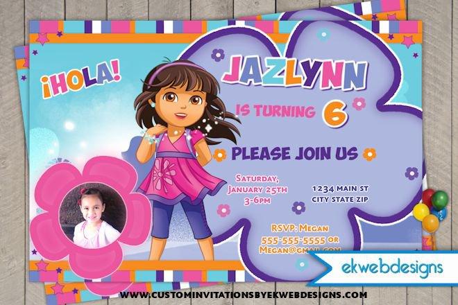 Custom Dora Birthday Invitations