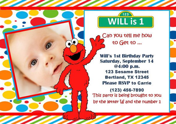 Custom Elmo Birthday Invitation