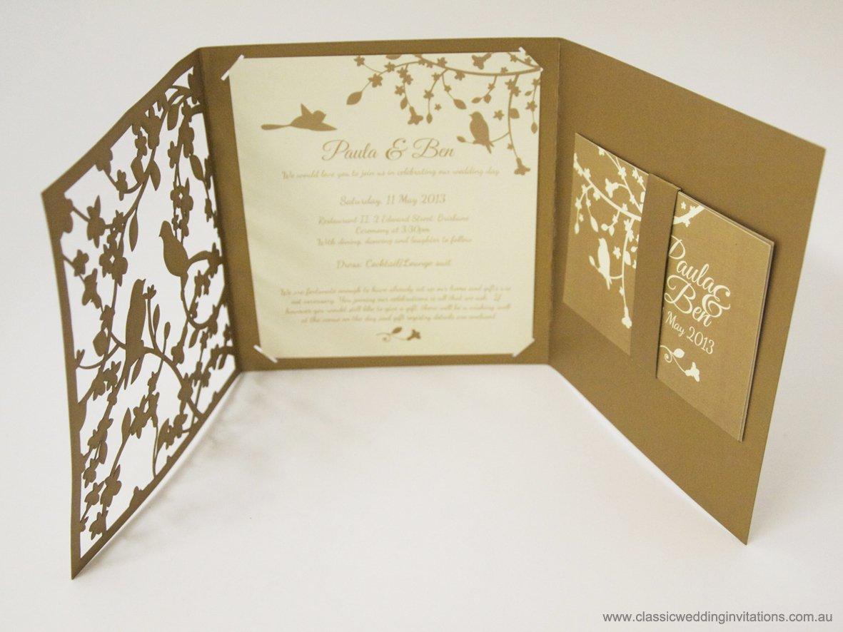 Pocket Folder Wedding Invitation Kits: Custom Laser-cut Wedding Invitations