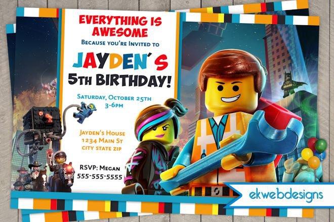 Custom Lego Party Invitations