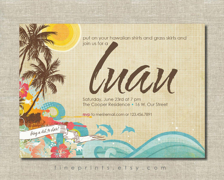 Custom Luau Birthday Invitations