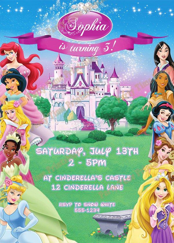 Custom Made Disney Princess Invitations