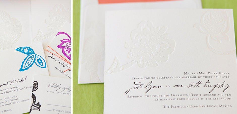 Custom Made Letterpress Wedding Invitations