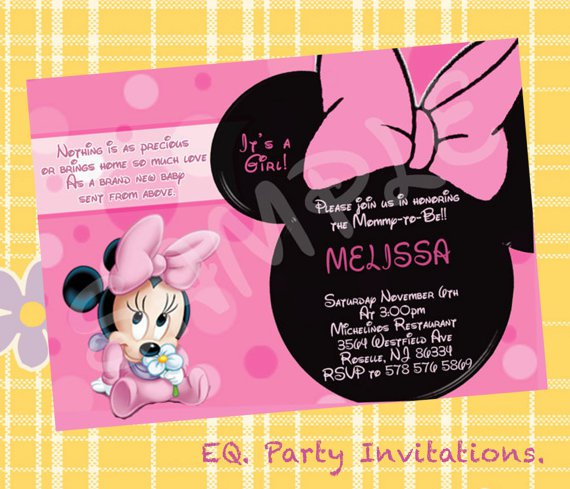 Custom Minnie Mouse Baby Shower Invitations