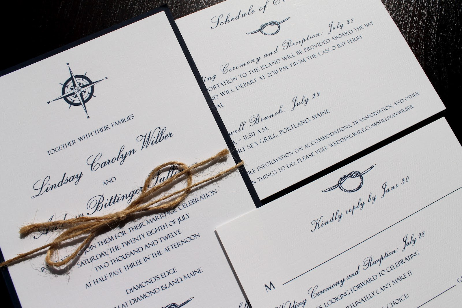 Custom Nautical Wedding Invitations
