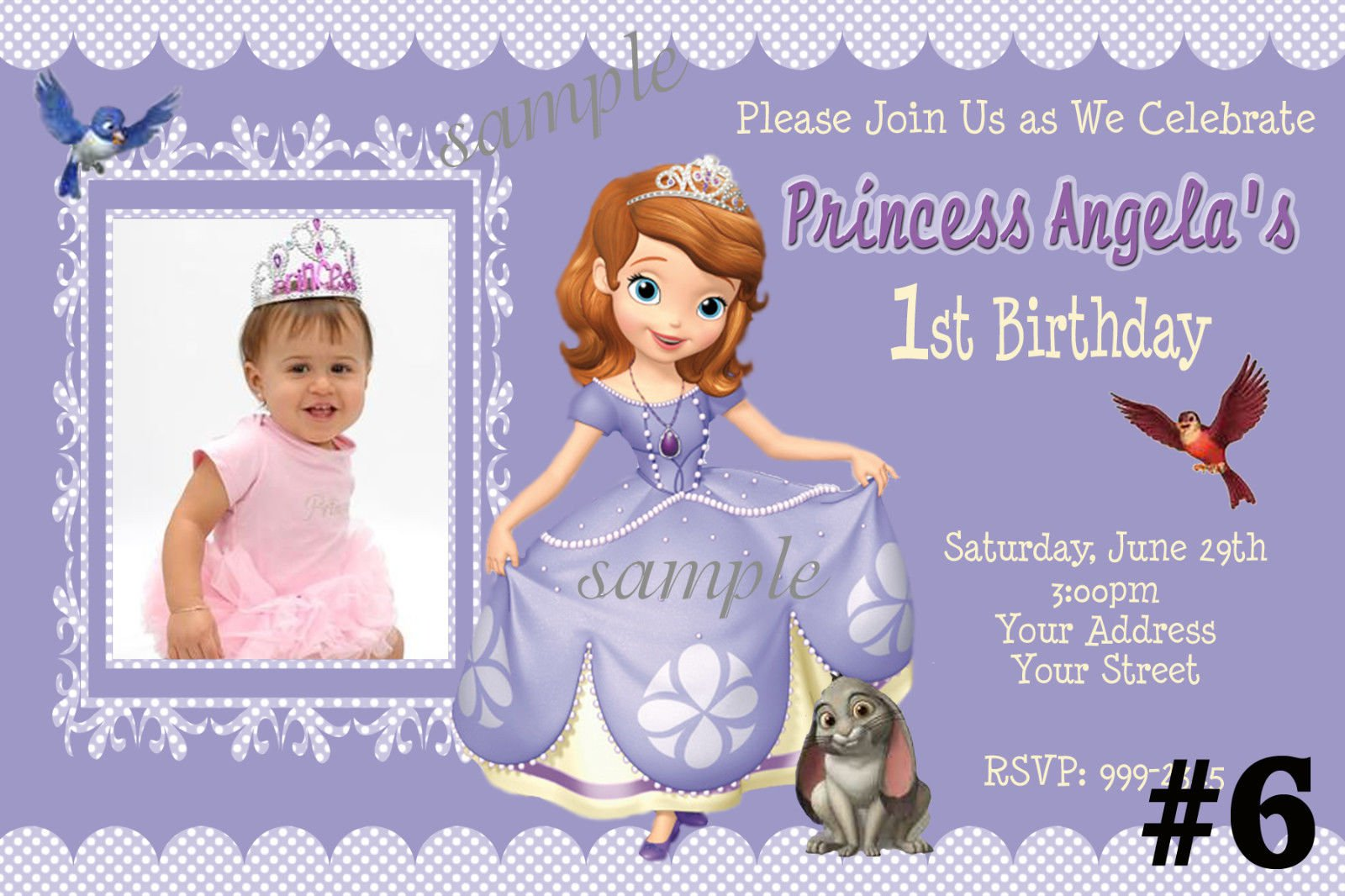 Attractive sofia the first personalized birthday invitations enchanting sofia the first personalized birthday invitations motif stopboris Gallery