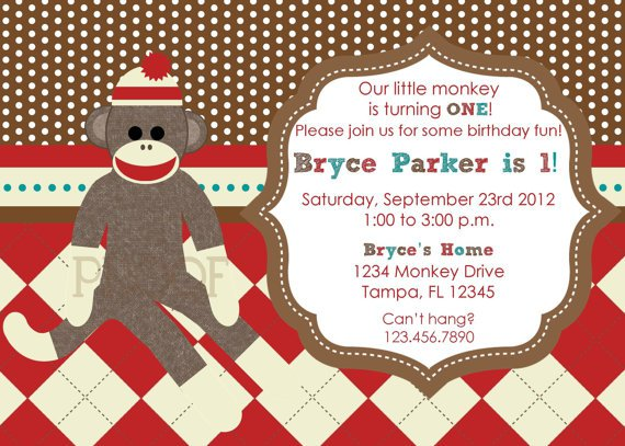 Custom Sock Monkey Birthday Invitations