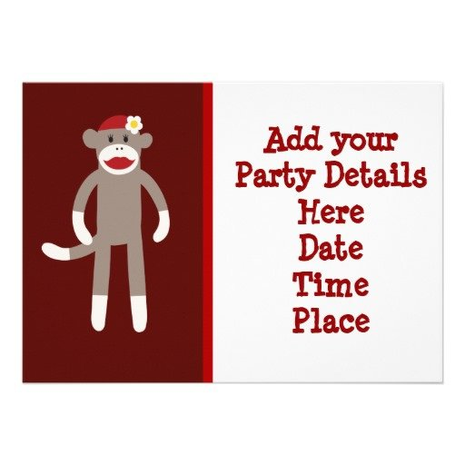 Custom Sock Monkey Invitations