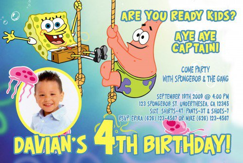 spongebob invitations customizable, Party invitations