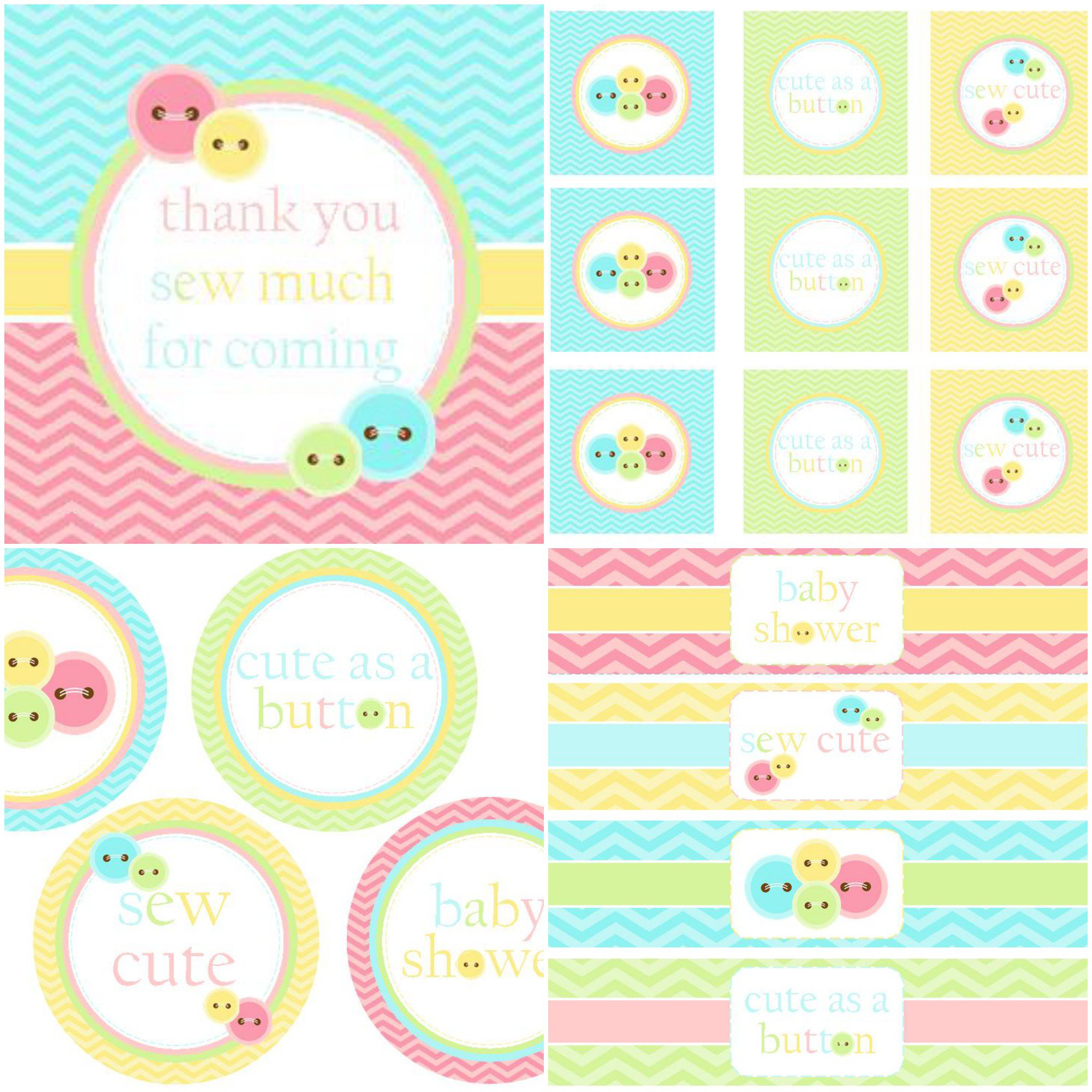 Cute As A Button Baby Shower Invitation Templates Baby Shower ...