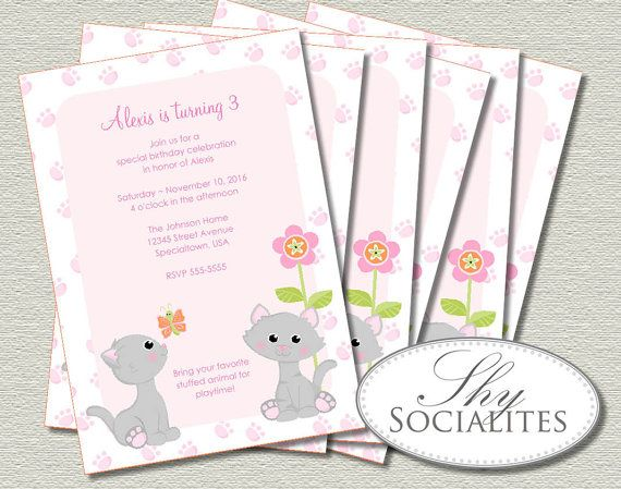 Cute Kitten Birthday Invitations Printable