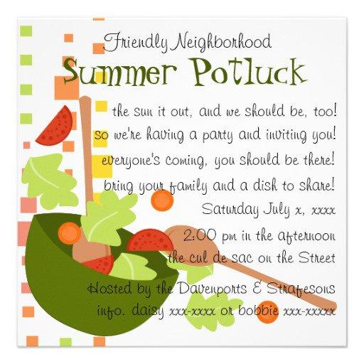 Cute Potluck Invitation Wording
