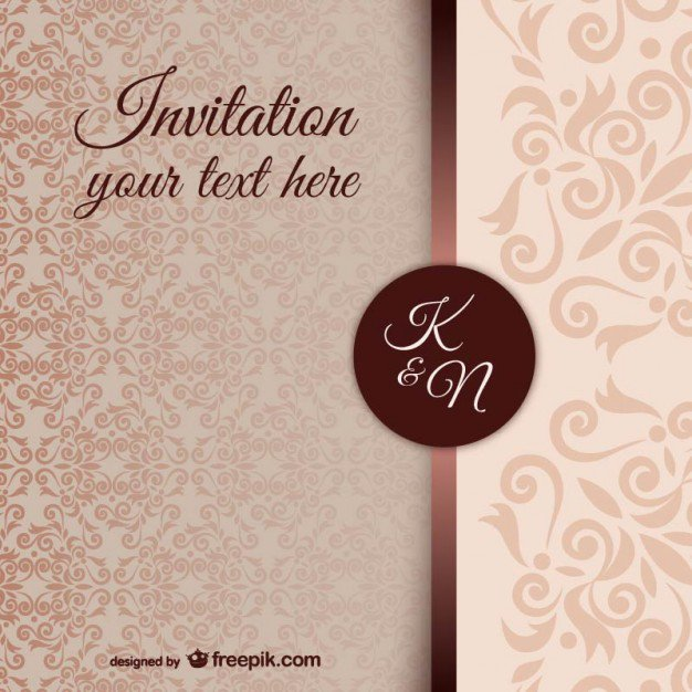 Damask Wedding Invitation Templates
