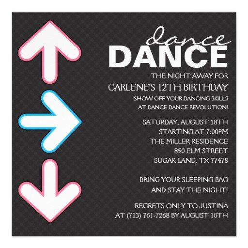 Dance Birthday Party Invitations
