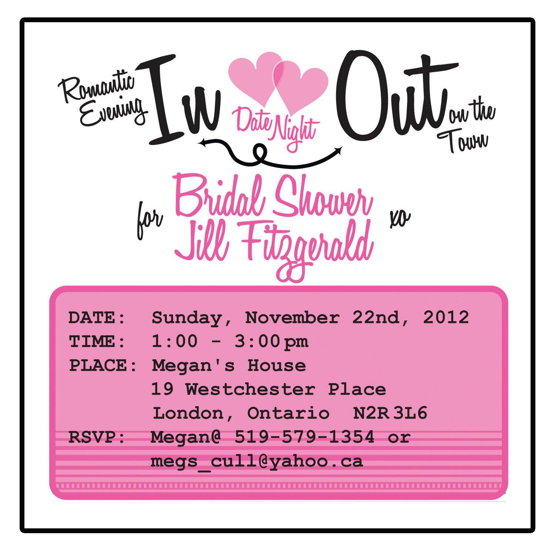 Date Night Bridal Shower Invitation Wording