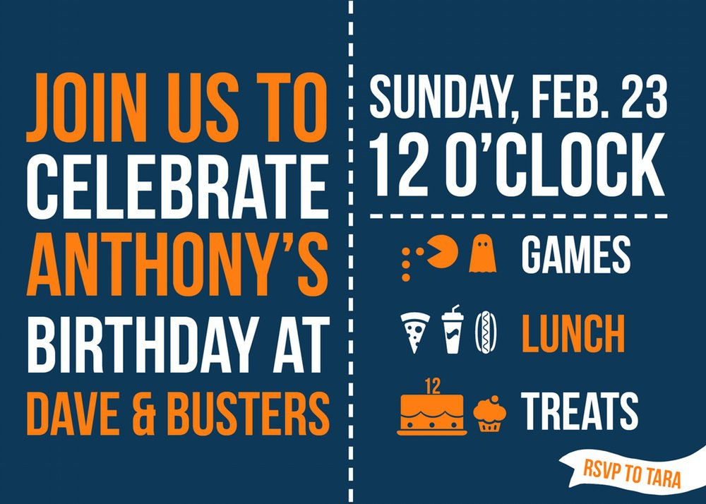 Dave And Busters Party Invitations