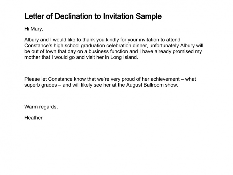 decline invitation letter sample