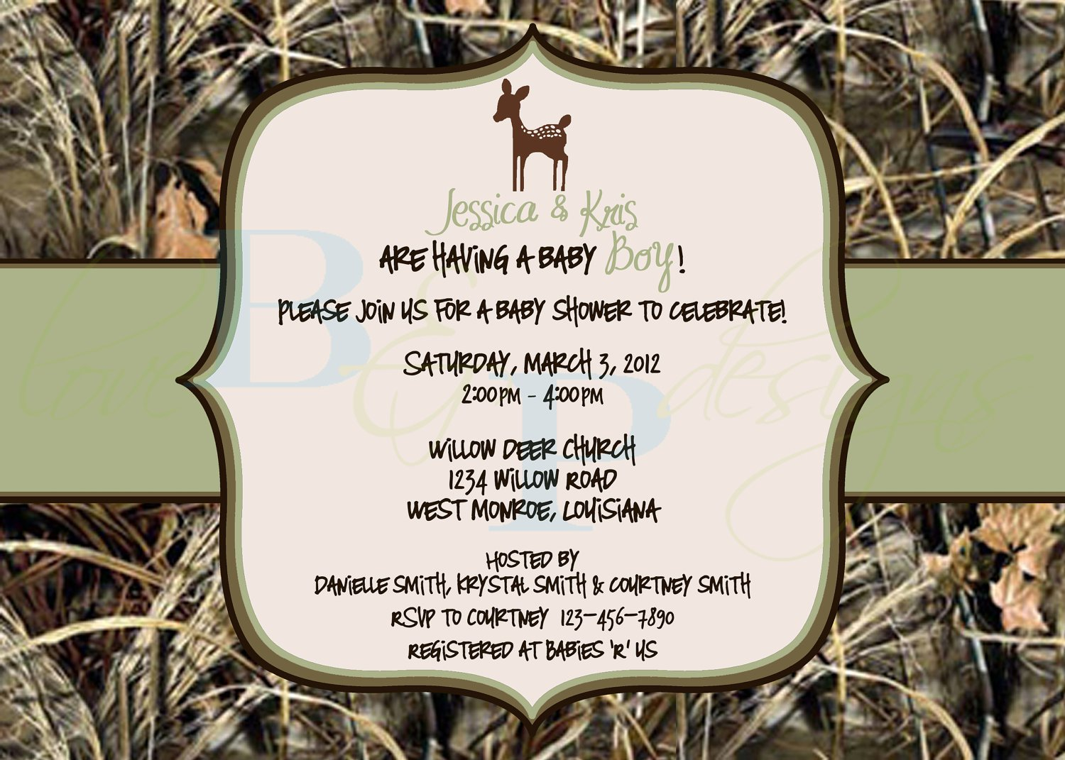 Deer And Camouflage Invitations Templates