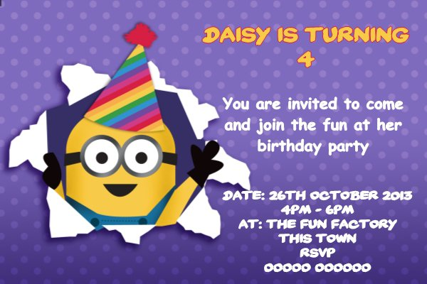 Despicable Me Personalised Invitations