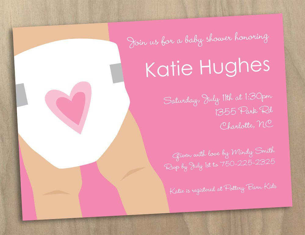 Diaper Baby Shower Invitations Printable Template