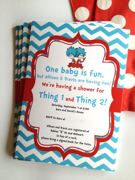 Diaper Party Invitations For Twins