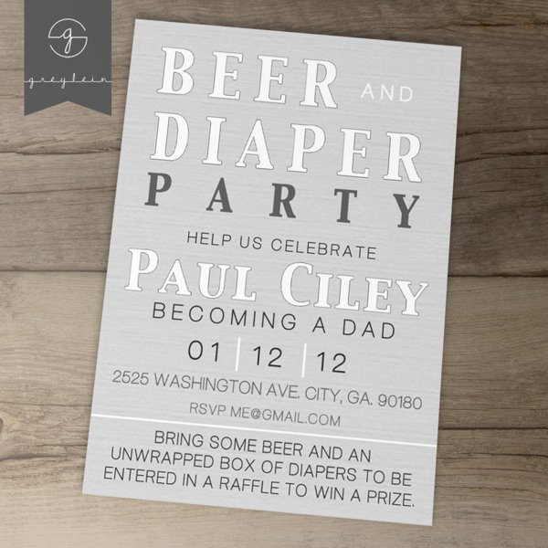 Diaper Party Invitations Printable