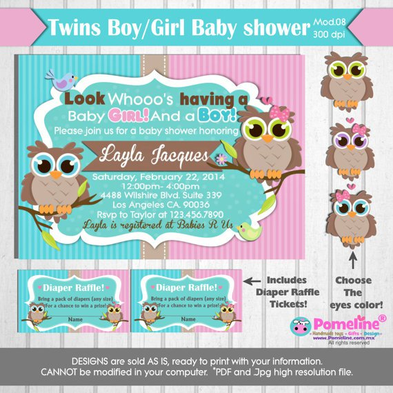 Diaper Shower Invitations For Twins