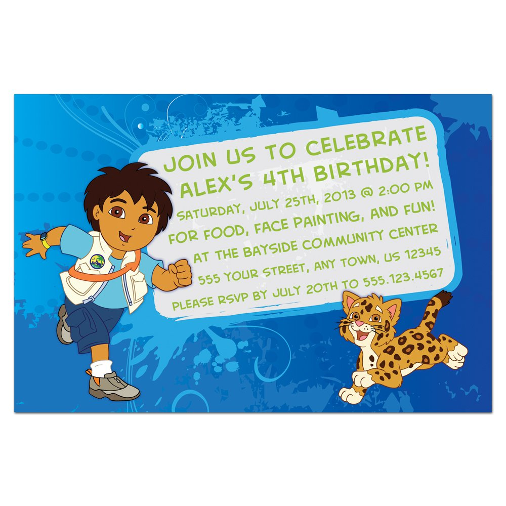 Diego Birthday Party Invitations