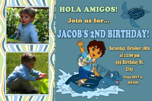 Diego Party Invitations