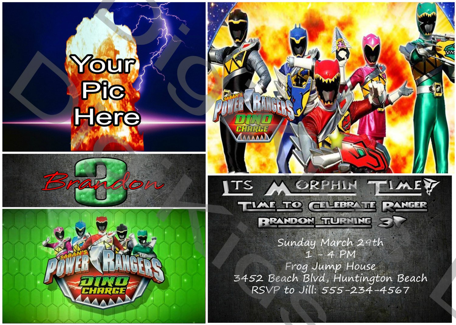 Dino Charge Birthday Invitations